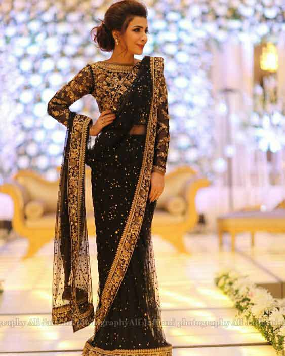 Black net saree designs for bridals in Pakistan