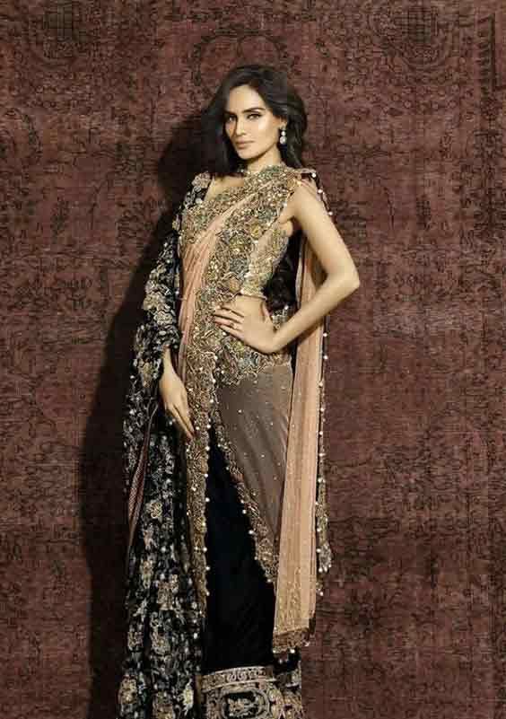 Peach and black bridal saree with shawl for weddings