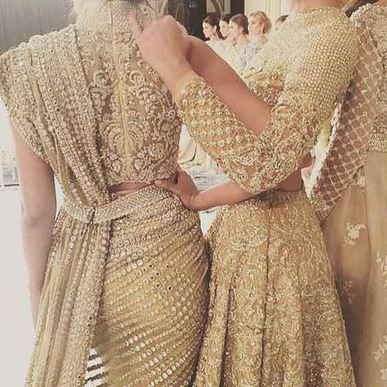 Golden bridal saree details in Pakistan