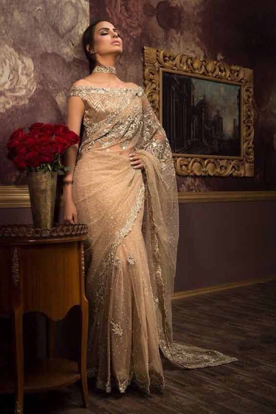 Pakistani golden sarees for bridals