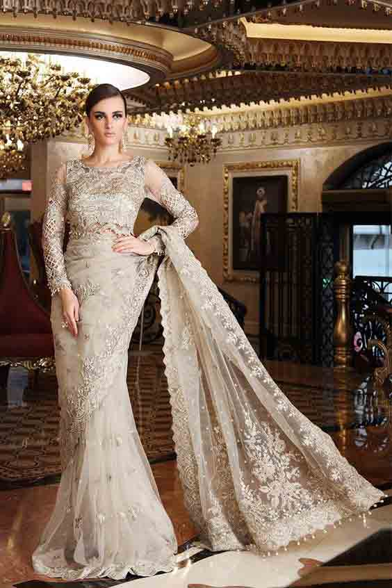 Off-white net saree for bridals in Pakistan