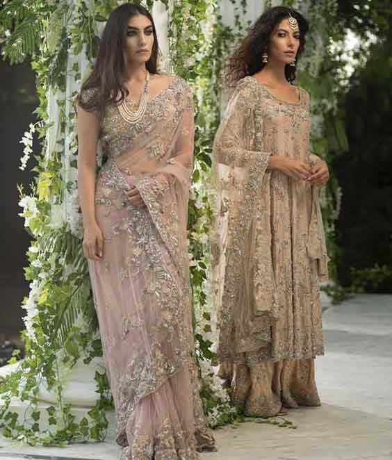 Pastel saree designs for bridals in Pakistan