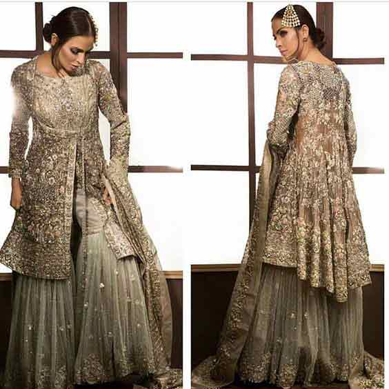 Latest Angrakha peplum with sharara for Pakistani wedding brides