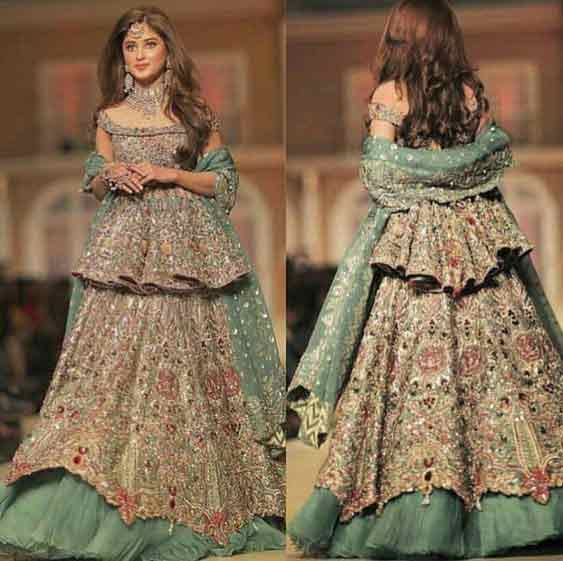 Latest Short peplum frock with formed lehenga for wedding brides in Pakistan