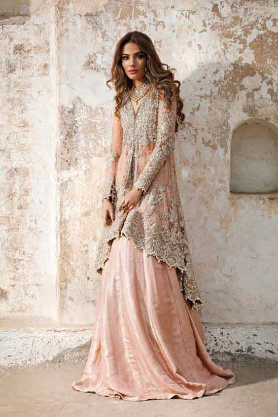 Peach peplum with lehnga for Pakistani bridals