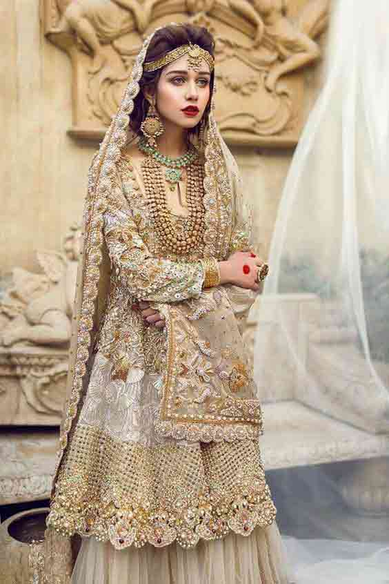 Beautiful golden peplum dresses for Pakistani brides