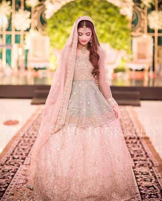 Pakistani Pink peplum frock with lehenga for wedding brides
