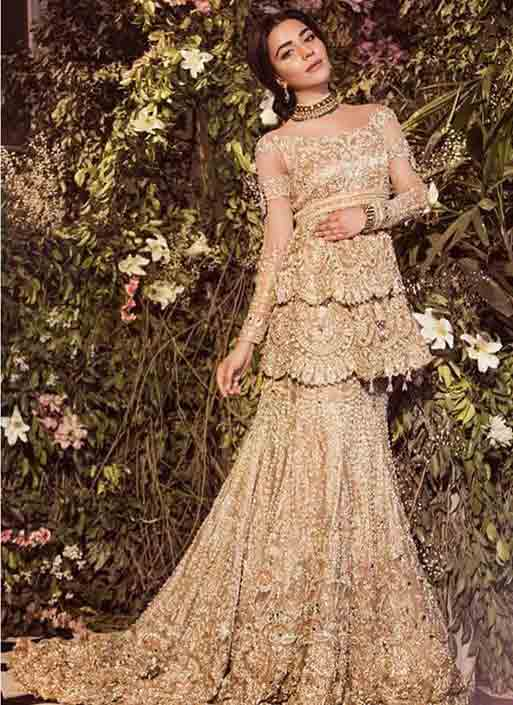 Beautiful golden peplum with fishtail lehnga for Pakistani brides