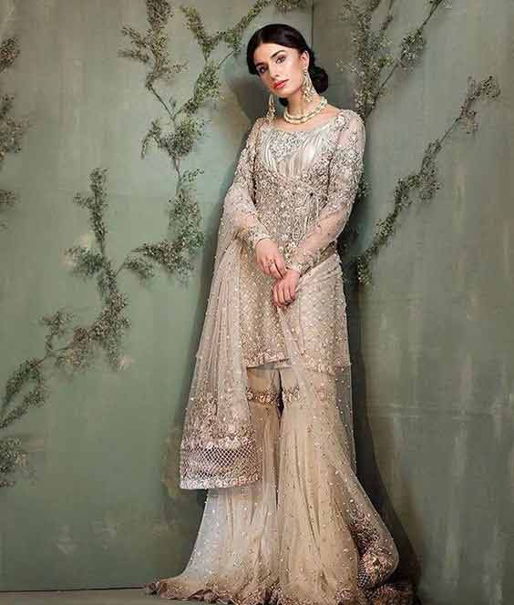 Angrakha peplum frock with gharara for Pakistani brides
