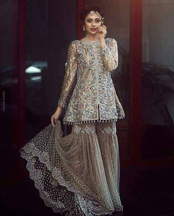 Pakistani peplum frock with sharara for bridals