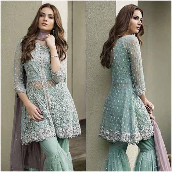 Latest blue peplum frock with sharara for bridals
