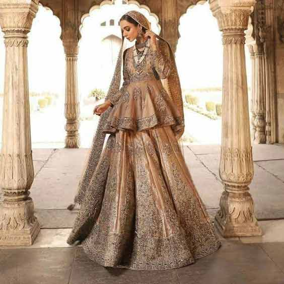 Golden peplum short frock with lehenga for wedding