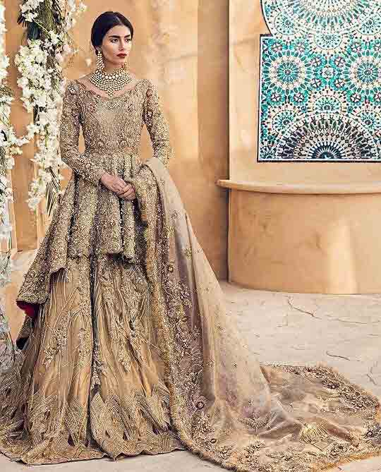 Latest golden peplum frock lehenga for Pakistani wedding brides