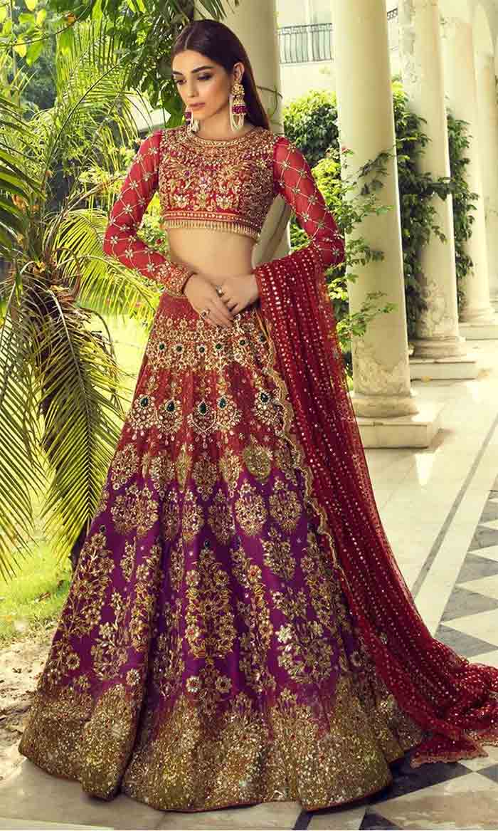 Pakistani crop top choli with lehenga for bridals