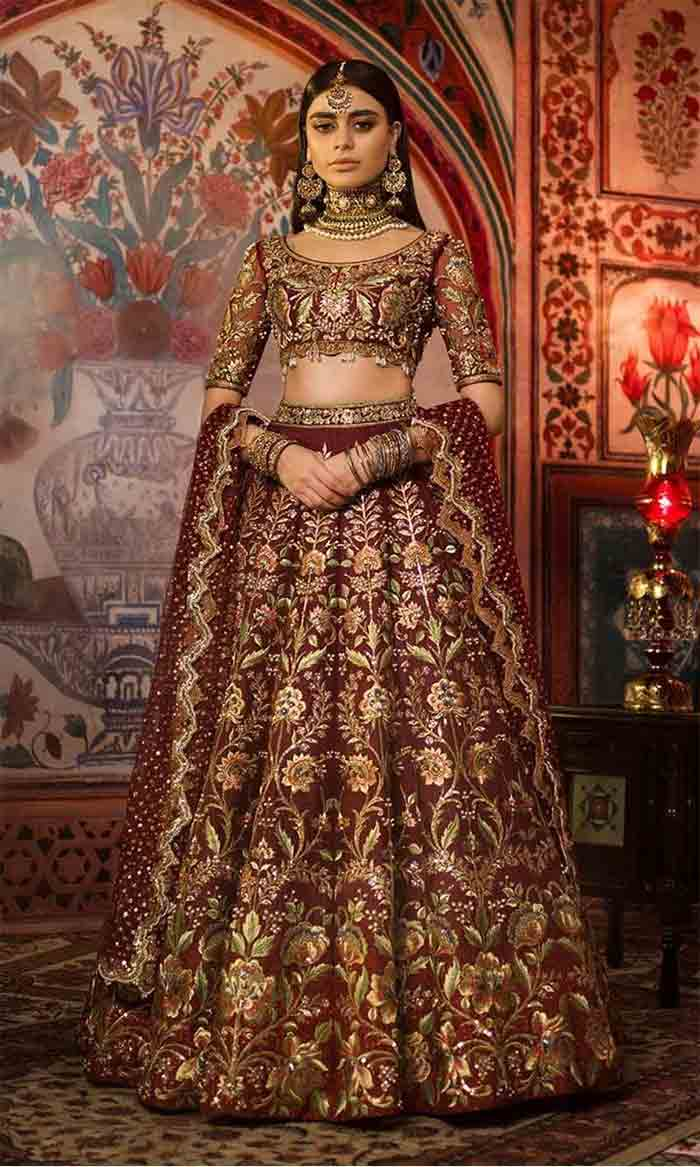 Pakistani bridal crop top choli with lehenga