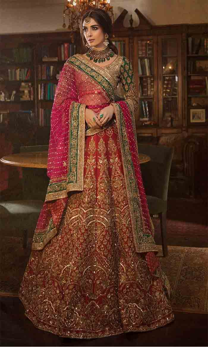 Red and pink crop top choli wit lehenga for bridals