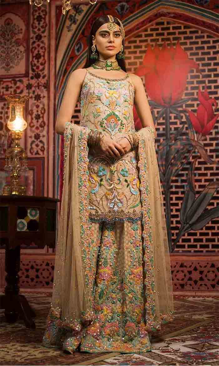 Pakistani bridal knee length kurti with lehenga