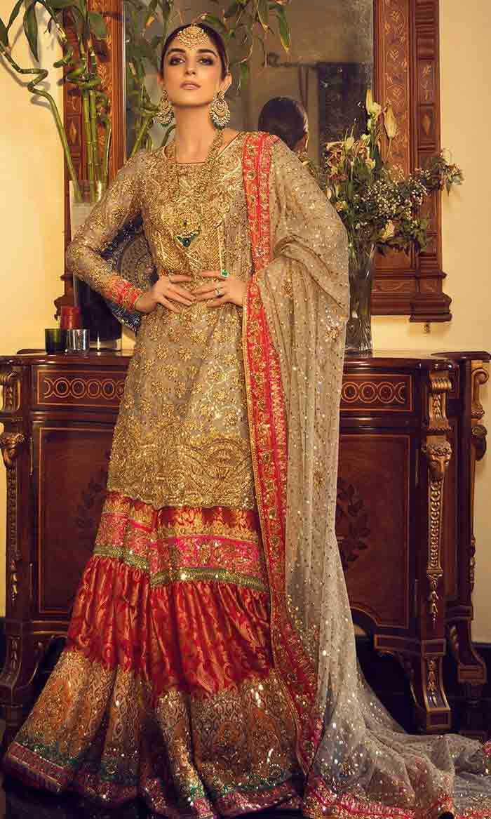 Latset golden kurti with lehenga sharara for brides