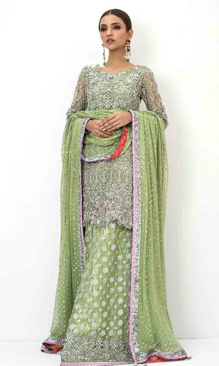 Green knee length kurti with lehenga for brides