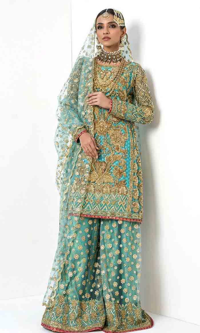 Sky blue kurti with lehenga for brides