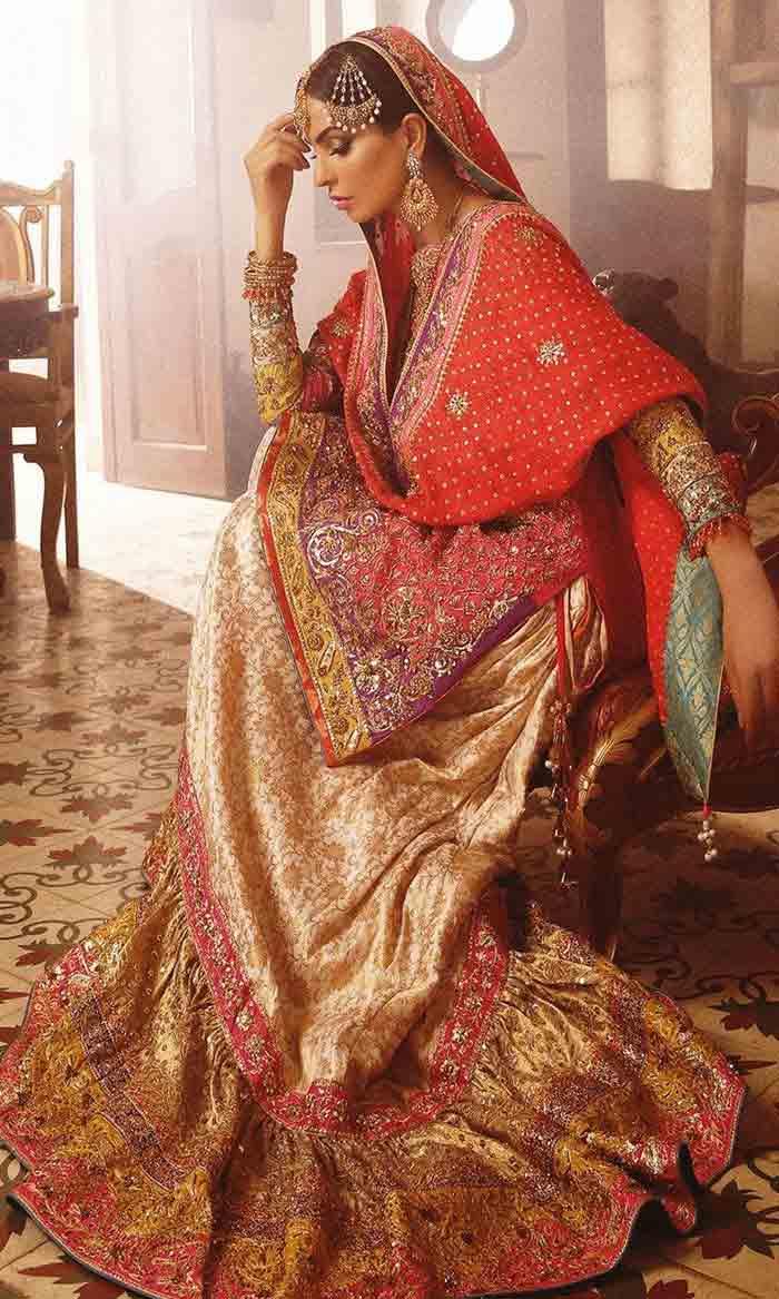 Bridal knee length kurti with lehenga