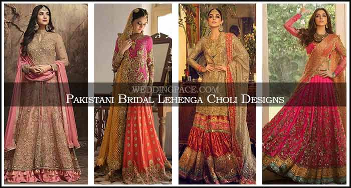 Latest Pakistani bridal lehenga choli designs