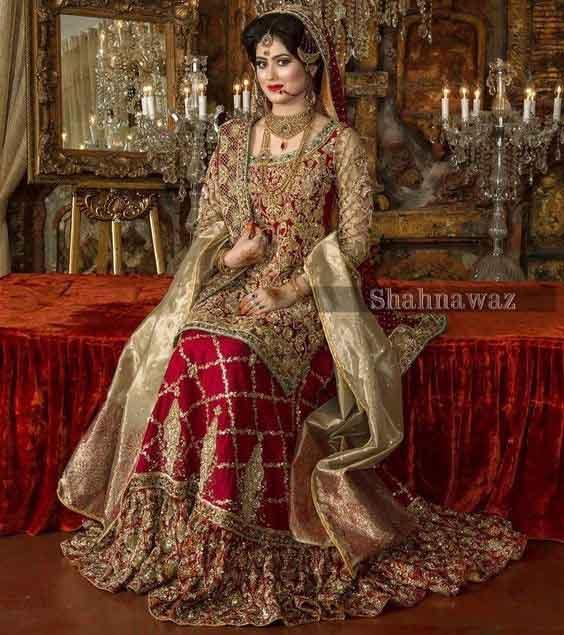 Red and gold lehenga kurti for brides