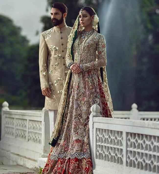 Bridal long kurti with lehenga in Pakistan