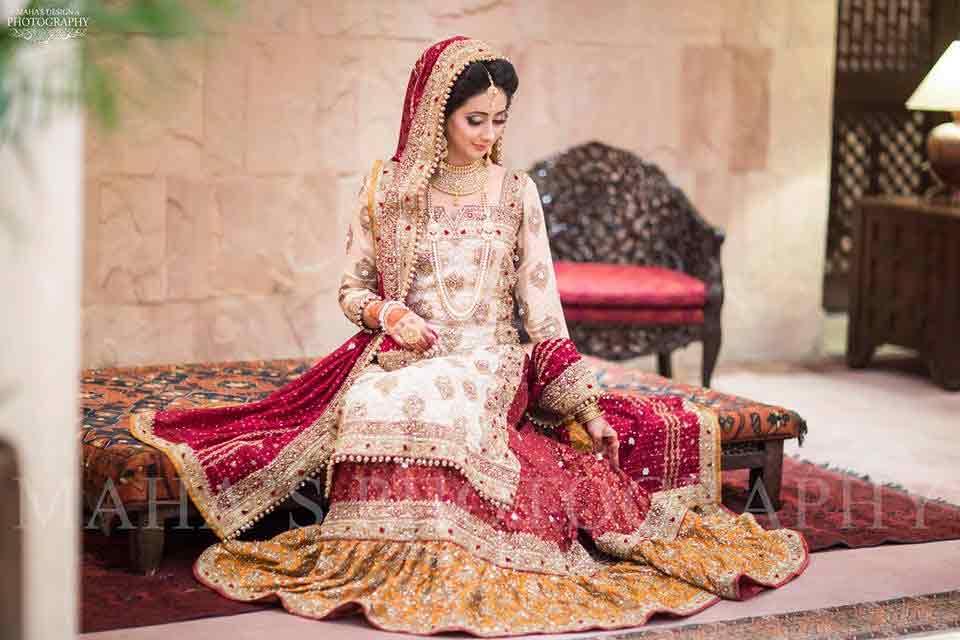 White long kurti with lehenga for brides