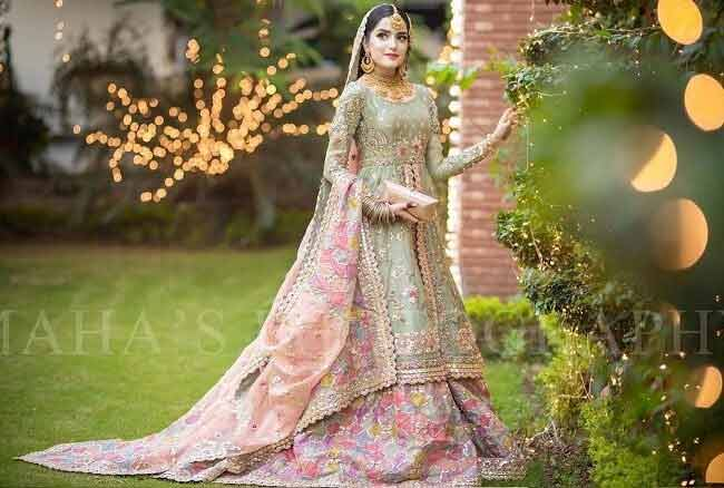 Pakistani long shirt with lehenga for brides
