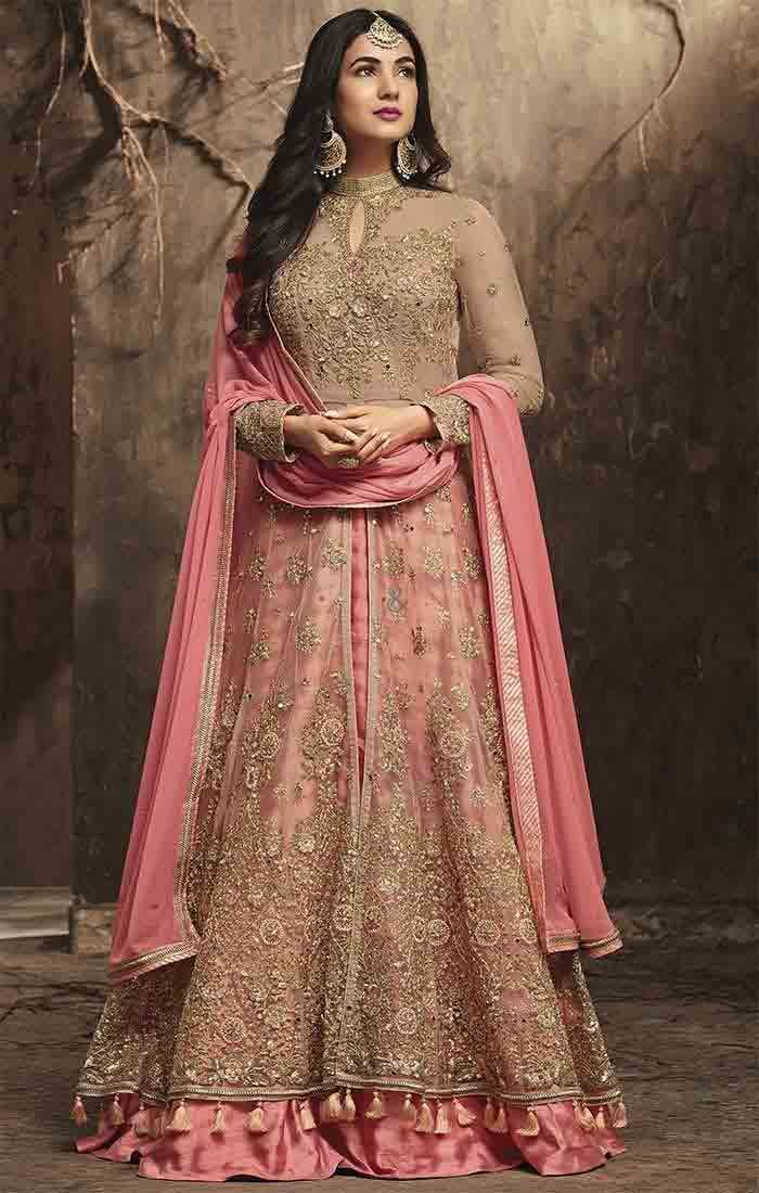 Pink long kurti with lehenga in Pakistan