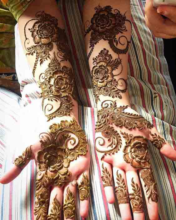 Full arms and hands mehandi style for Pakistani brides