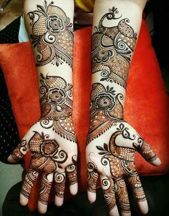Full front hand and arms mehndi designs for bridals