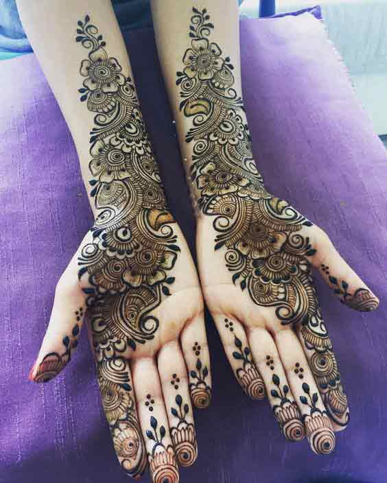 Latest side booti mehndi designs for bridals