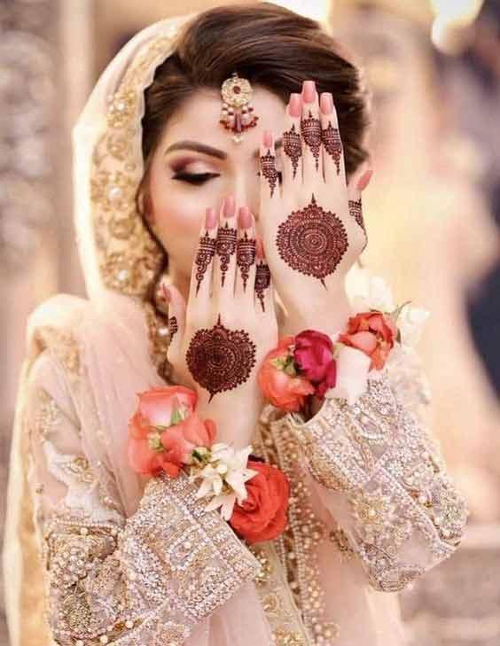 Pakistani bridal gol tikki/tikka mehndi designs and styles