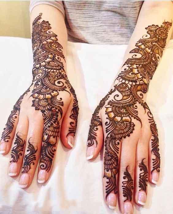 Bridal back hand mehndi designs for wedding