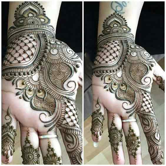 Bridal front hand mehndi designs in Pakistan