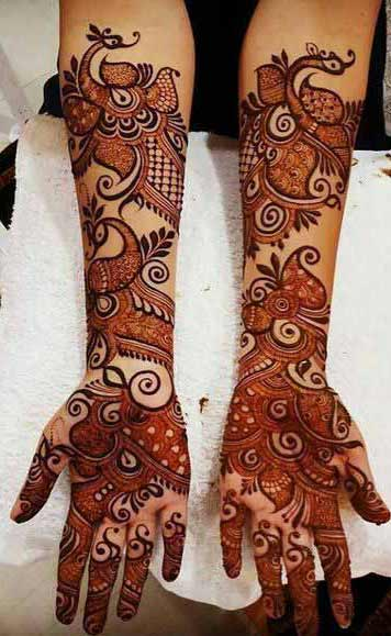 Pakistani bridal full hands and arms mehndi designs