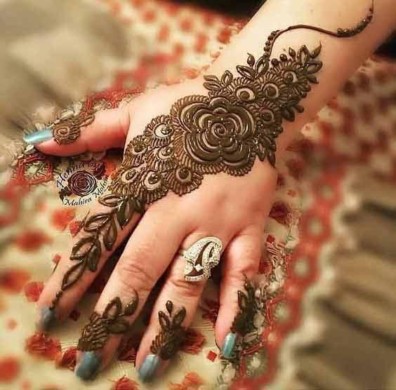 Pakistani bridal simple mehndi designs for back hand