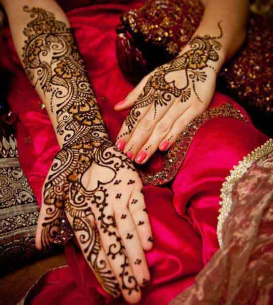 Front and back hand mehndi designs for bridals