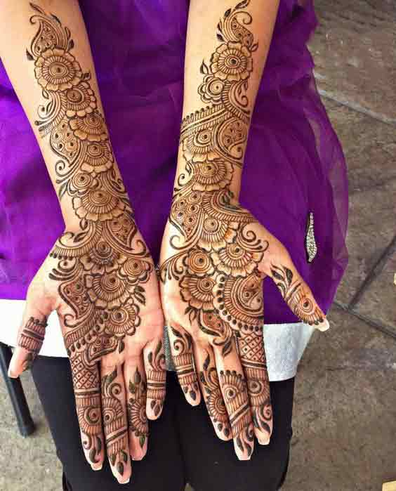 Full front hand and arms mehandi designs for brides