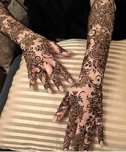 Full back hands and arms mehndi designs for brides