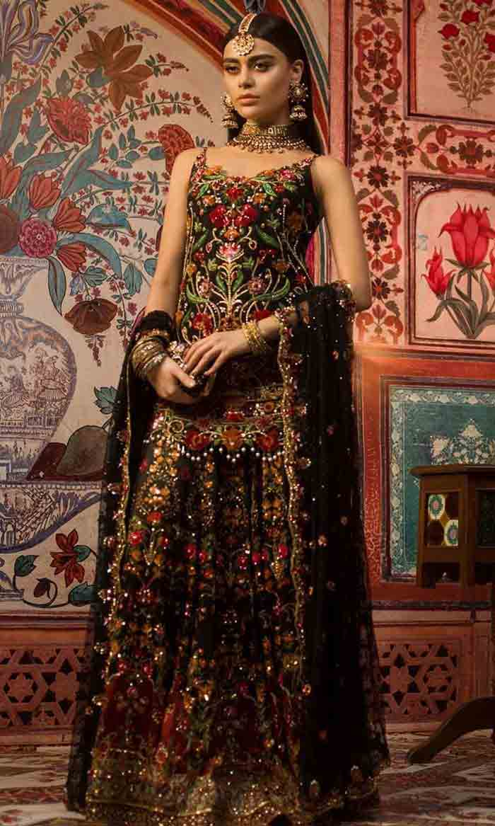 Pakistani mid length kurti with lehenga for brides