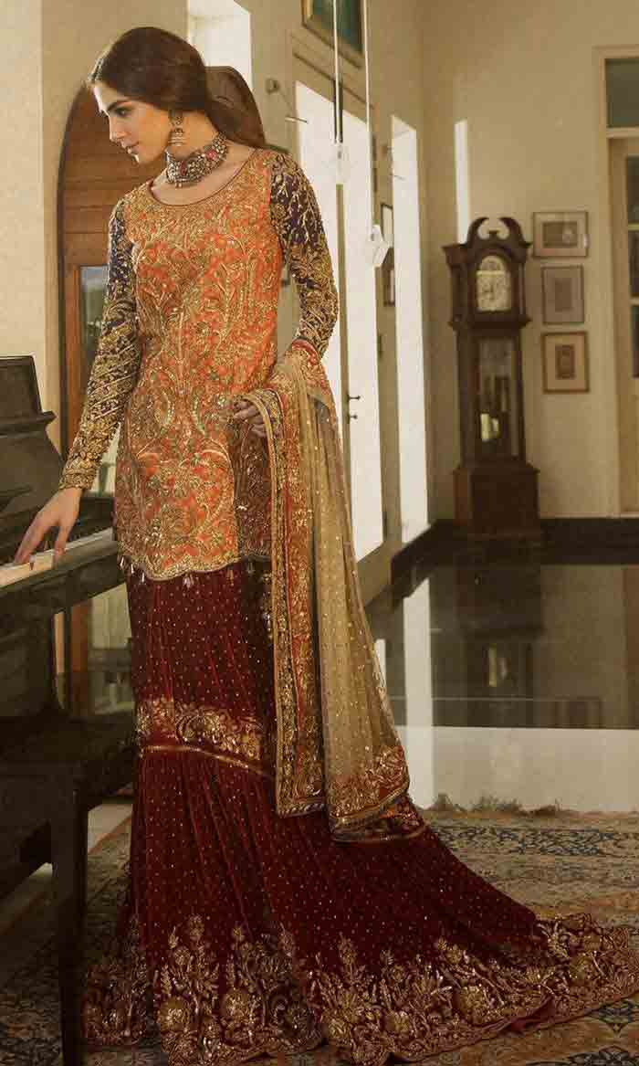 Orange kurti with lehenga for Pakistani brides