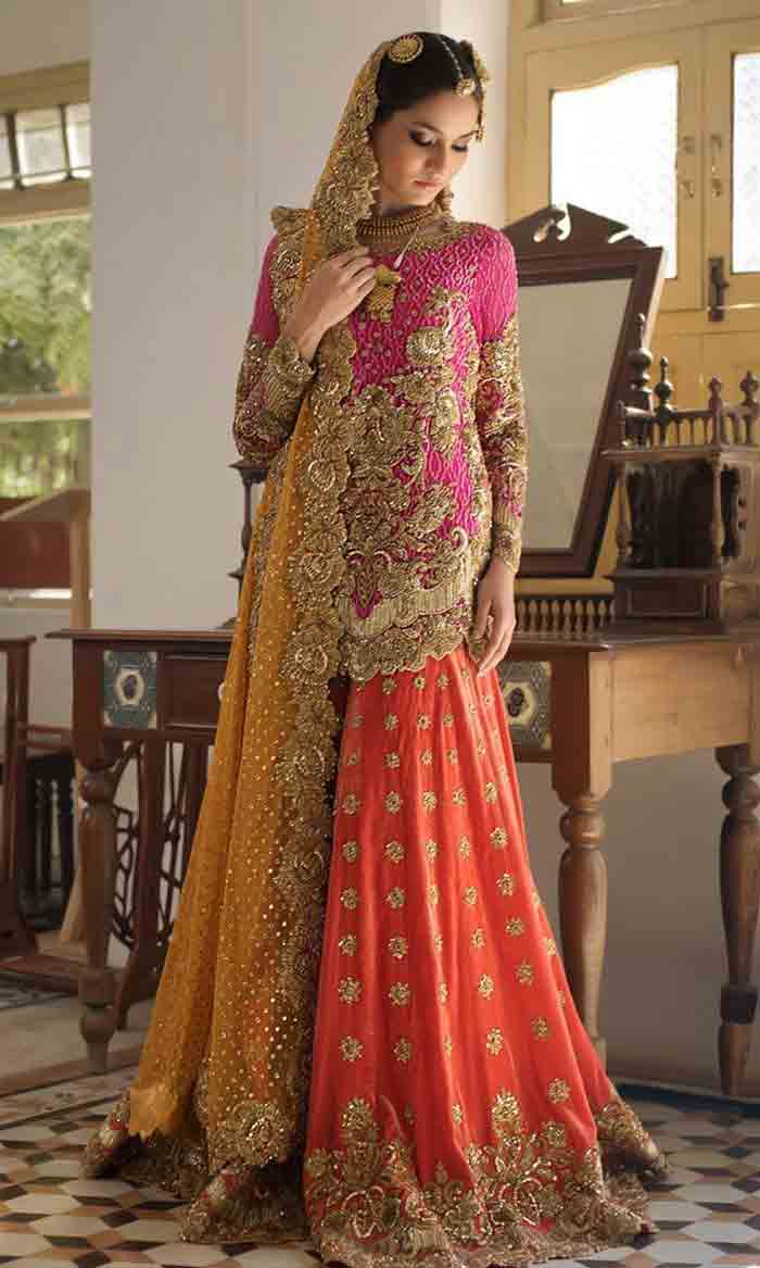 Pakistani bridal mid length kurti with lehenga