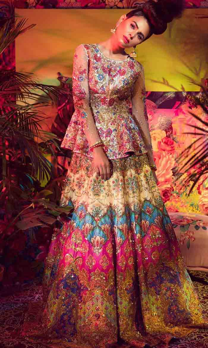 Pakistani peplum with lehenga for brides