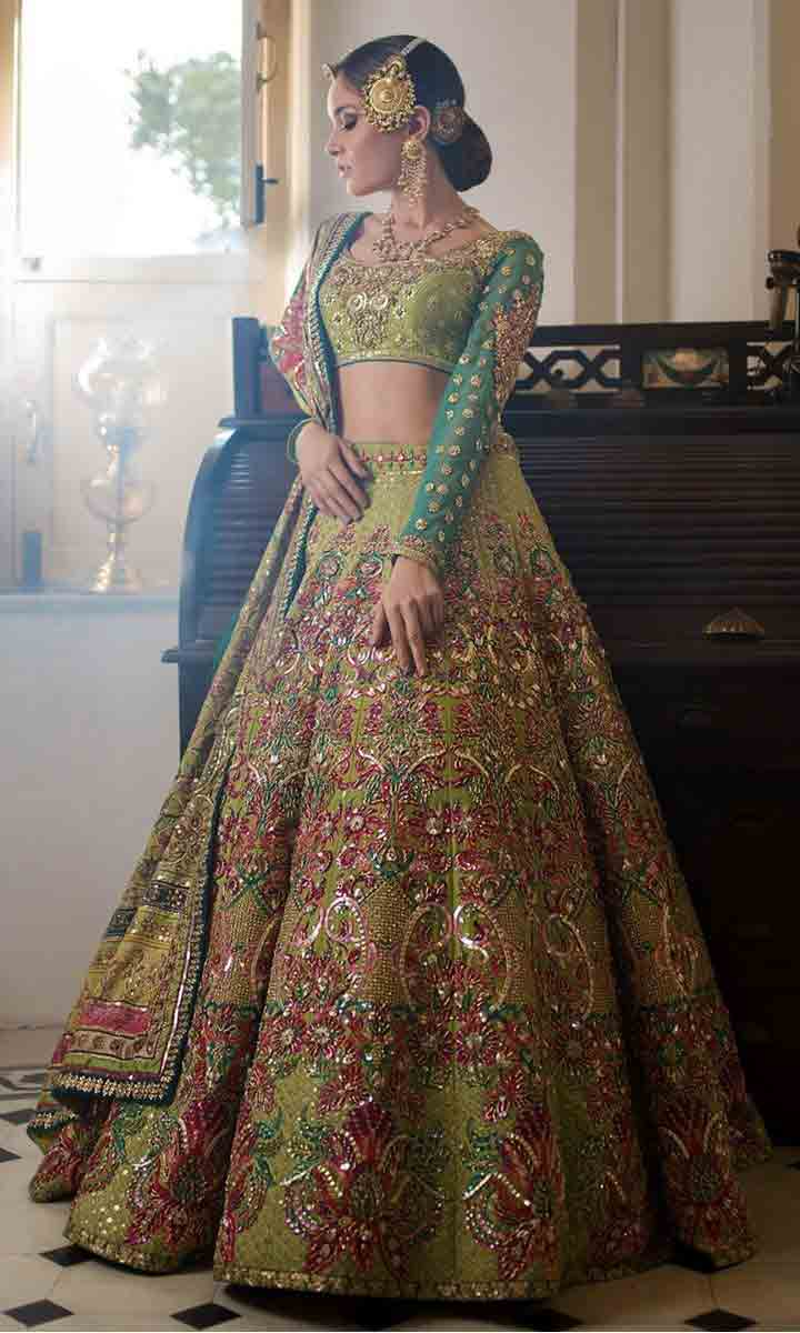 Green lehenga choli designs for Pakistani brides