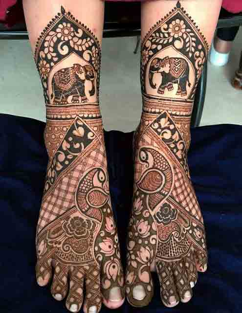Foot and leg mehndi designs for bridals