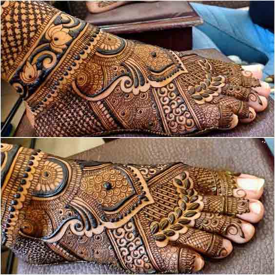 Full foot mehndi designs for brides